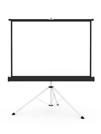 Projector screen on tripod isolated on white background.