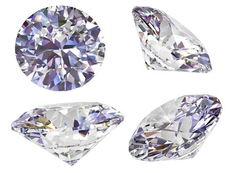 Four view of diamond isolated on white background. High resolution 3D image