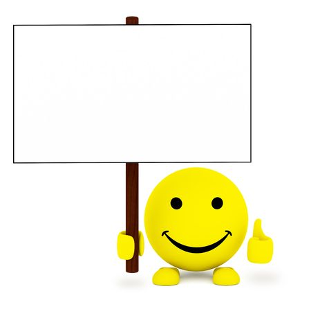Bright yellow happy face ball with blank poster in hand. High resolution 3D image Archivio Fotografico