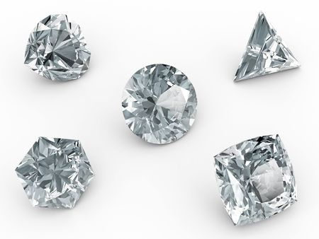 Various diamonds on white background. High resolution 3D image rendered with soft shadows