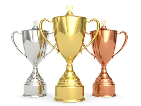 Golden, silver and bronze trophy cups on white background. High resolution 3D image