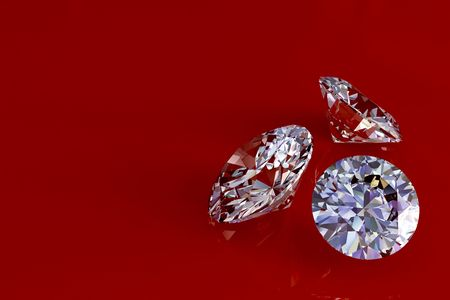 Three diamonds on red glossy background. High resolution 3D render with reflections