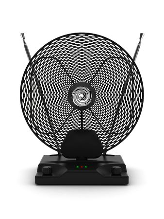 Portable television and radio antenna with adjustable amplifier on white background. High resolution 3D image photo