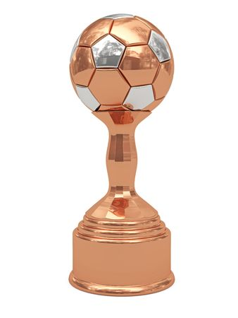Bronze soccer ball trophy on pedestal isolated on white. High resolution 3D image