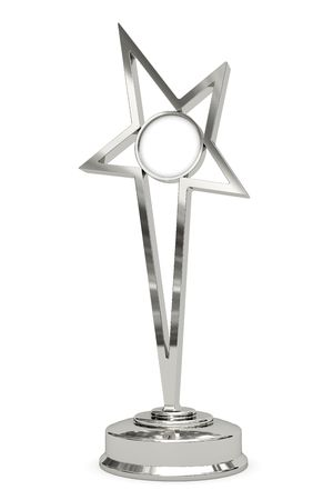 Silver or platinum star prize on pedestal with blank round plate isolated on white. High resolution 3D image
