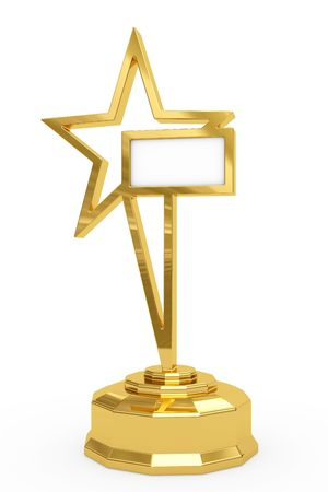 Golden star prize on pedestal with blank white plate isolated on white. High resolution 3D image
