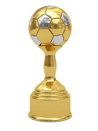 Golden soccer ball trophy on pedestal isolated on white. High resolution 3D image