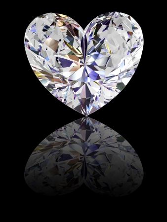Heart shape diamond on glossy black background. High resolution 3D render with reflections