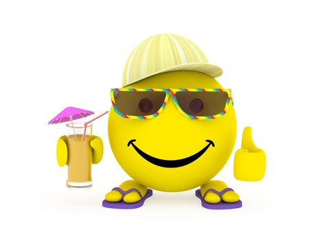 Happy face yellow ball in summer shoes, sunglasses and cap with cocktail in hand. High resolution 3D image