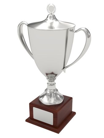 Silver trophy cup on wood pedestal with blank plate isolated on white. High resolution 3D image photo