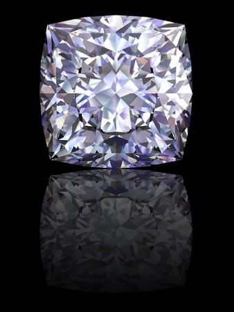 Square diamond on glossy black background. High resolution 3D render with reflections Stock Photo