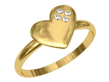 Golden ring in the shape of heart with diamonds. High resolution 3D image Stock Photo - 6054709