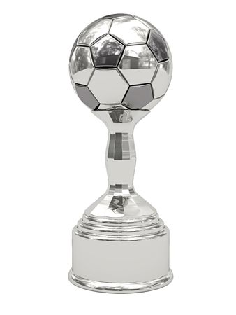 Silver soccer ball trophy on pedestal isolated on white. High resolution 3D image
