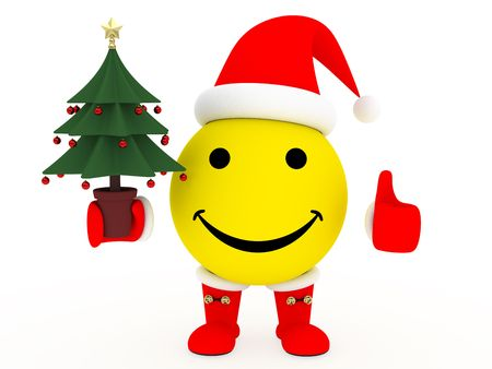 celebration smiley: Happy face in Santas costume with christmas tree in hand  over white background. High resolution 3D image