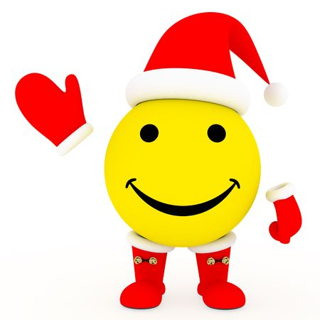 Happy face in Santas costume on white background. High resolution 3D image