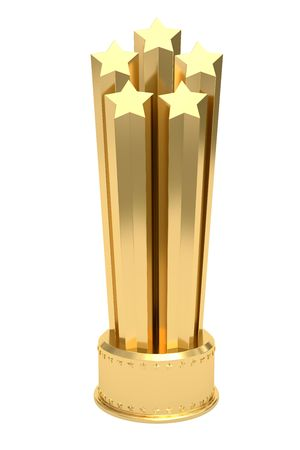 Golden stars prize on pedestal isolated on white. High resolution 3D image Stock Photo - 6144453