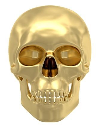 frontal views: Golden skull isolated on white background. High resolution 3D image