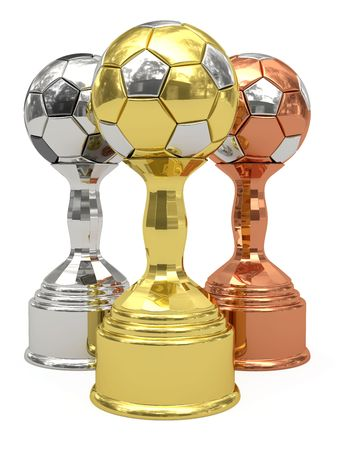 Golden, silver and bronze soccer trophies on white background. High resolution 3D image