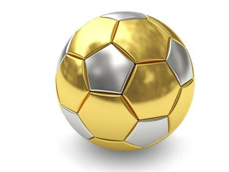 pelota de futbol: Bal�n de oro de f�tbol sobre fondo blanco, representado con sombras suaves. Imagen 3D de alta resoluci�n