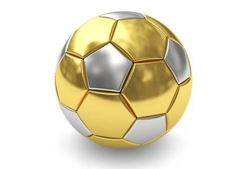 Gold soccer ball on white background rendered with soft shadows. High resolution 3D image Archivio Fotografico