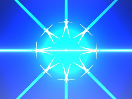 Abstract image of eight human body in blue power rays. High resolution 3D image. Stock Photo - 6504982