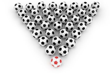 Soccer balls group with leader on white background rendered with soft shadows. High resolution 3D image. photo