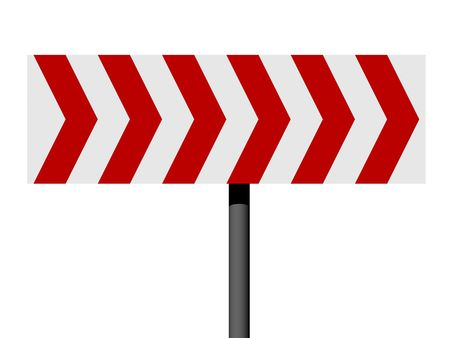 Red and white direction sign isolated on a white background