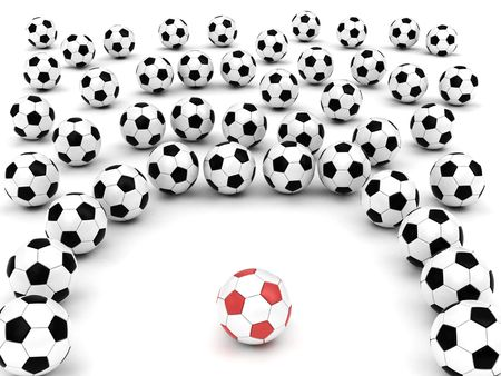 Soccer balls around team leader on white background rendered with soft shadows. High resolution 3D image. photo