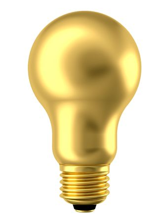 Golden lightbulb isolated on white background. High resolution 3D image Stock Photo