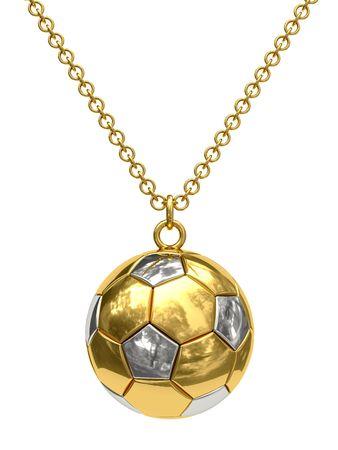 Colgante de oro en forma de bal�n de f�tbol en cadena aislado en blanco. Imagen 3D de alta resoluci�n  Foto de archivo - 7160140