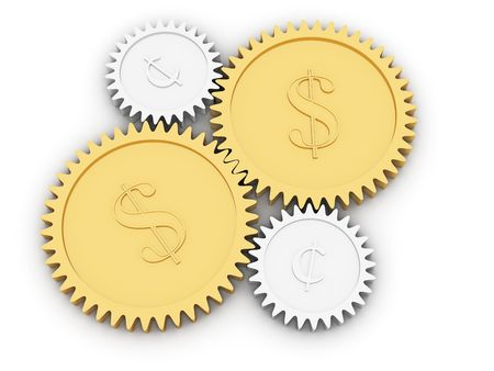 Golden dollar and cent gears on white background. High resolution 3D image rendered with soft shadows photo