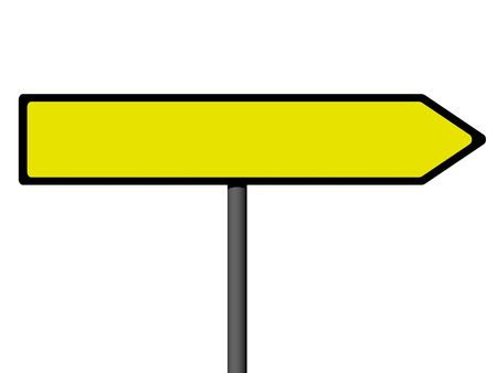 Blank direction signs on a metal column on the white background