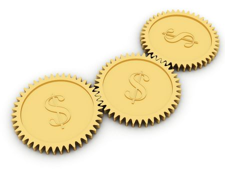 Golden dollar gears on white background. High resolution 3D image rendered with soft shadows photo