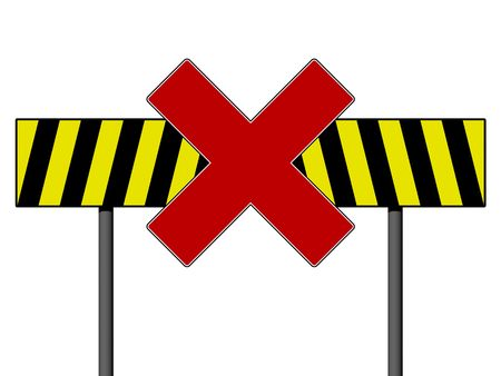 Warning sign with yellow and black lines isolated on a white background photo