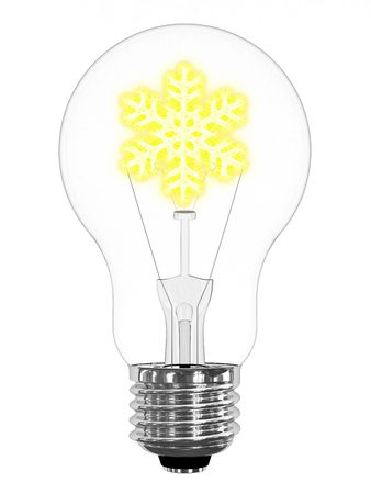 Lightbulb with sparkling snowflake inside on white background. High resolution 3D image photo