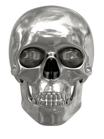 Silver or platinum skull isolated on white background. High resolution 3D image Stock Photo - 7160143