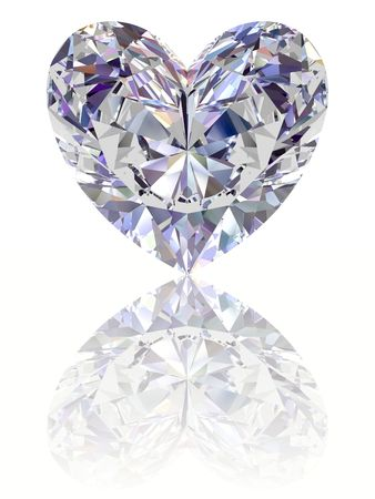 Diamond in shape of heart on glossy white background. High resolution 3D render with reflections