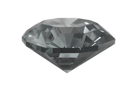 diamante negro: Diamante negro aislado sobre fondo blanco. Procesamiento 3D de alta resoluci�n