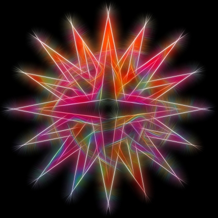 aura energy: Fractal star shiny on black background. High resolution abstract image