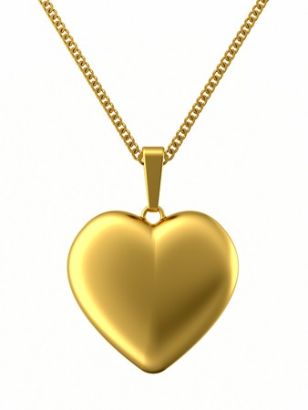 Golden pendant in shape of heart on chain isolated on white. High resolution 3D image photo