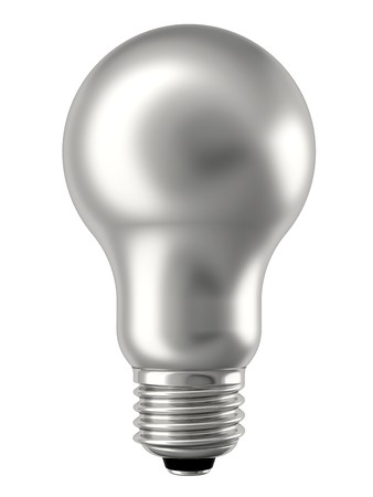 Silver lightbulb isolated on white background. High resolution 3D image photo