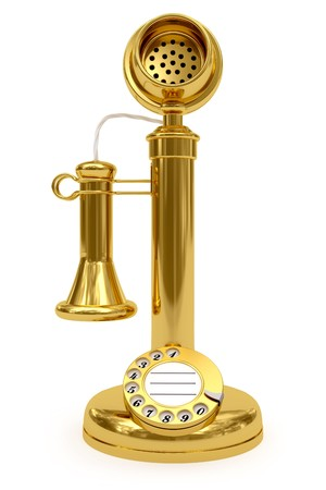 Golden retro-styled telephone on white background. High resolution 3D image