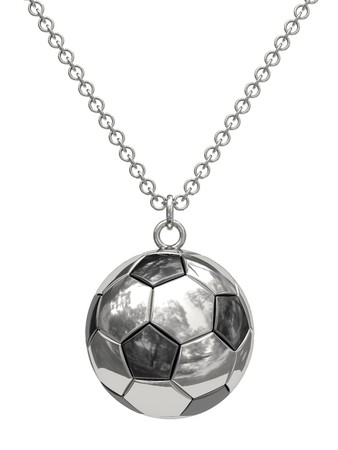 Silver pendant in shape of soccer ball on chain isolated on white. High resolution 3D image photo