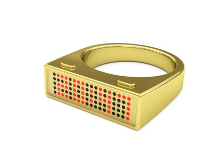 Golden ring with electronic led watch inside. Exclusive design. High resolution 3D image photo