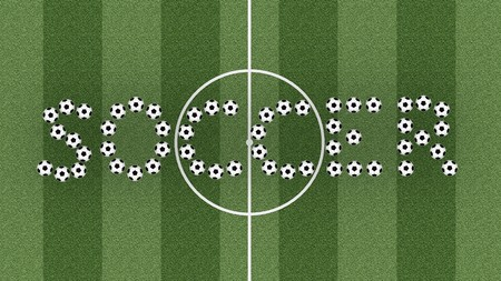 Soccer word composed of soccer balls on green grass field. High resolution 3D image Stock Photo