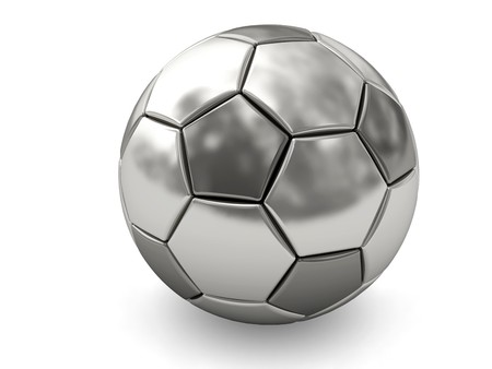 Silver or platinum soccer ball on white background rendered with soft shadows. High resolution 3D image
