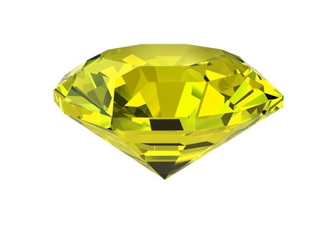 Yellow diamond isolated on white background. High resolution 3D render Stock Photo