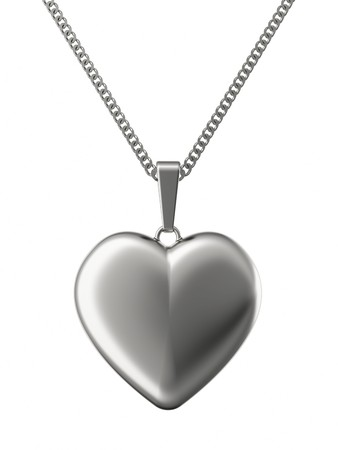 Silver pendant in shape of heart on chain isolated on white. High resolution 3D image photo