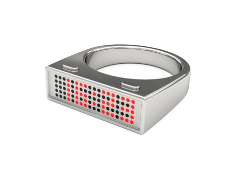 Silver ring with electronic led watch inside. Exclusive design. High resolution 3D image Stock Photo - 7393645