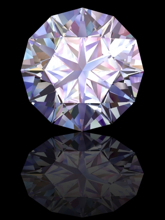 Diamond on glossy black background. High resolution 3D render with reflections